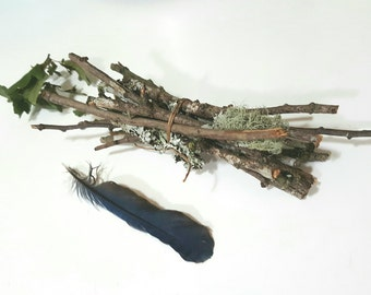 Hawthorn twigs for Beltane~Samhain~Faery lore and Faerie Magic~Pagan Supplies ~Wicca~Witch Craft~Dried Twigs with lichen and moss
