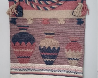 SALE  XL Vintage Wall Hanging, Navajo Style, Pink and Blue,  Bojo