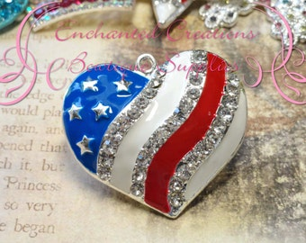 46mm Red, White and Blue Heart USA Flag Rhinestone Pendant