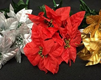 Christmas Silver, Gold and Red Poinsettia Flower Bunches Holiday Decoration Lot of 6 Stems 56 Flowers