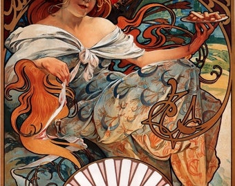 Alphonse MUCHA POSTER from 1897--Print of Famous Biscuit Ad