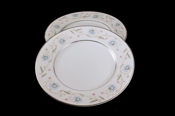 Bread and Butter Plates, English Garden Platinum, Fine China, Japan, Set of 2, Floral Pattern
