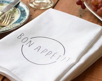 Cloth Napkins - Organic Cotton Cloth Napkins - Dinner Napkins - Bon Appetit - Cotton Napkins - Reusable Napkins - EAT - Tea Towel Set