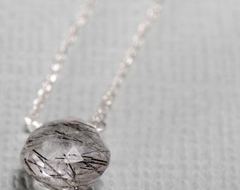 Tourmalinated Quartz Little Rock Sterling Silver Necklace