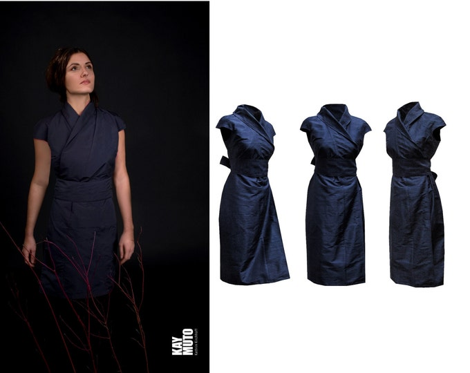 silk wrap dress in kimono style wrapdress Obi belt sash darkblue