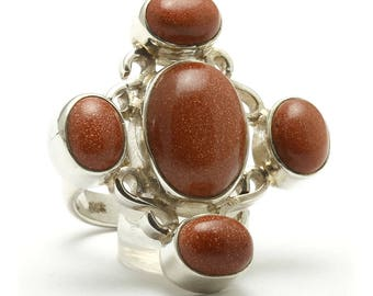 Goldstone Ring, 925 Sterling Silver, Unique only 1 piece available! SIZE 6.50 (inner diameter 17mm), color brown, weight 13.5g, #11224