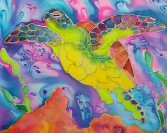 Sea Turtle 8x10 art print  from Kauai Hawaii green blue orange pink purple teal