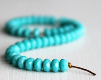 50 Opaque Turquoise 3x5mm Rondelles - Czech Glass Beads