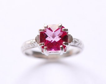 Cushion Topaz Ring with Pink Prong Set Topaz In Your Size