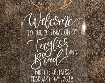 wedding welcome sign, acrylic welcome sign, welcome sign, acrylic wedding sign, custom calligraphy sign, acrylic calligraphy sign