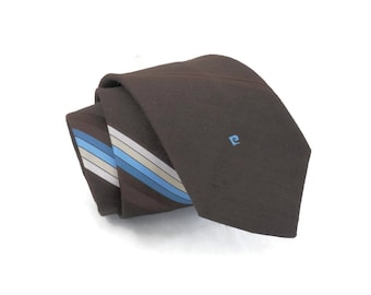 Pierre Cardin Necktie 70s Vintage Designer Mens Clothing  Deadstock with Tags Brown with Diagnonal Blue Stripes