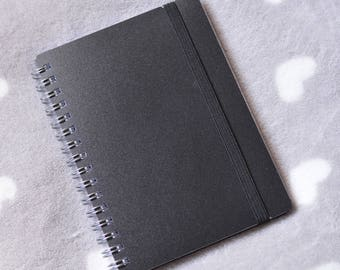 Black lines A6 spiral notebook