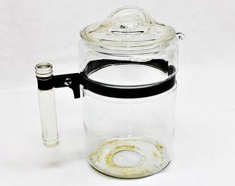 Vintage Pyrex Percolator, Glass Coffee Pot, Flameware Coffee Pot 7826B