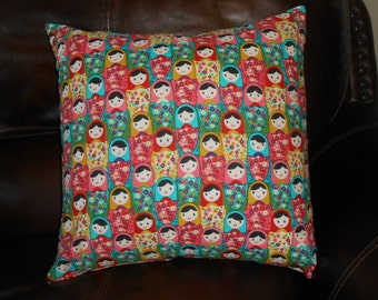 Matryoshka Doll Print Pillow Cover With Coordinating Pink Flower Envelope Style Backing