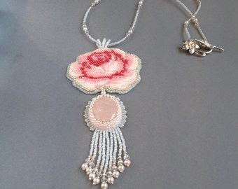 Handmade necklace, bead necklace, embroidery necklace,   rose necklace, quartz necklace, pink quartz