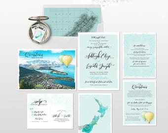 New Zealand illustrated Destination wedding invitation Queenstown or Lake Tekapo South Island wedding invitation Deposit Payment