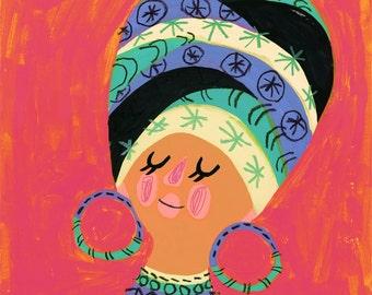 African Woman portrait, portrait illustration, unique portrait, portrait print, house warming gift, portrait print, birthday gift