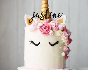 Décoration de gâteau dit cake topper prénom sur mesure - personnalisation