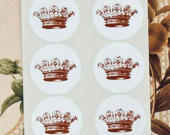 Crown Stickers Princess Party Envelope Seals Party Favor Treat Bag Stickers Royal Wedding SP012