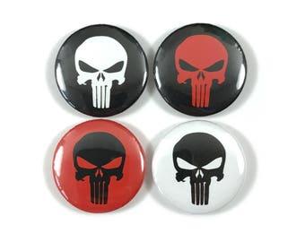 The Punisher Skull Logo Fan Art 4 - 1 Inch Button Set