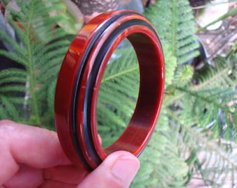 Vintage Bakelite Step Bracelet; Sleek Overdyed Carvings; Marbled Paprika Colors!
