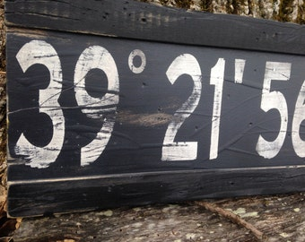 Wood Sign Latitude Longitude/Custom Longitude Latitude Wood Sign/family GPS coordinates sign/distressed coordinates/gray latitude