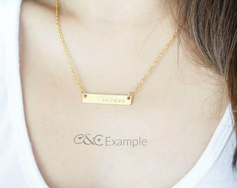 Personalized Necklace, Bar Necklace, Gold Bar Necklace, Bar Necklace Personalized, Custom Necklace, Rose Gold Bar Necklace, Stamped, Dainty