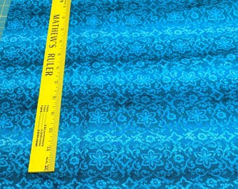 Priscilla-Teal Striped Floral Cotton Fabric from Blank Quilting