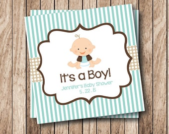 Printable It's a Boy Tags, Printable Baby Shower Tags, Personalized Printable Tags