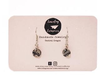 Small handmade marble dangle earrings