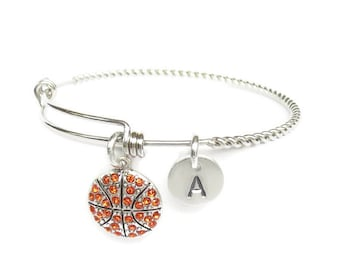 Basketball Bracelet, Jersey number Initial, Basketball Gift, Basketball Coach Gift, Basketball Mom, Mothers Day Gift, Basketball Team Gift