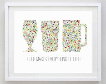 Beer Lover Floral Watercolor Art Print