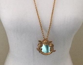 Vintage Mirror Necklace Brushed Gold Tone Raised Flowers Surrounding Round Mirror for Checking Make Up Whimsical Necklace