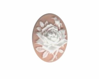 Pink and White Rose Resin Cameo cabochon 25x18 jewelry finding 369q
