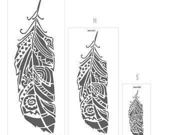 Forest Feather stencil Multi - Feather wall decal or wall stencil for DIY project - Scandinavian stencil - Tribal Pattern