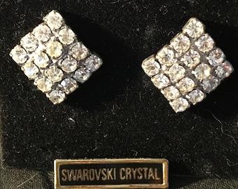 Vintage Elegant Square SWAROVSKI Crystal Pierced Earrings - New/Old Stock