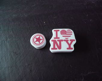 Ink pad foam New York: Star set of 2 stamps including a stamp and a stamp I love New York