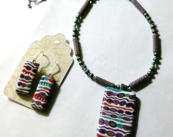 Purple, Turquoise, Red, White Striped Polymer Clay Pendant and Earring Set with a Matching Beaded Necklace by Carol Wilson of Je t'adorn
