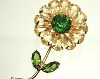 Pale Topaz Teardrop Crystal and Green Crystal Flower Brooch