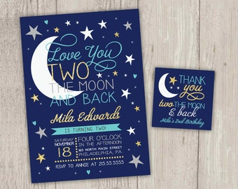 Love You TWO the Moon and Second Birthday Invitation, Moon and Stars 2nd Birthday Invitation with FREE matching favor tag | Printable