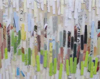 Mixed Media Acrylic collage painting, lines painting, abstract beach, recycled paper art, spring art