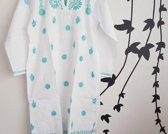 Chikankari,White girls tunic,Soft cotton voile, white Tunic, kaftan,kurta, Indian hand embroidery,Girls sleepwear,childrens kurta,kids tunic