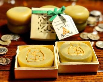 Lucky Bucks handmade soap, money soap, green soap bars