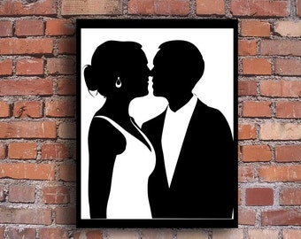 Custom Cut and Framed Wedding Silhouette - Various Sizes -  Just e-mail me your photo and I do the rest - Perfect Engagement Gift