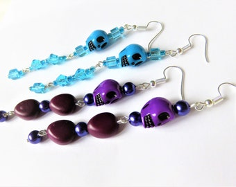 Earrings skull, choice of color: blue to purple