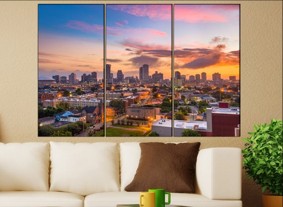 New Orleans  canvas skyline New Orleans wall decoration New Orleans canvas art New Orleans  wall decor canvas art
