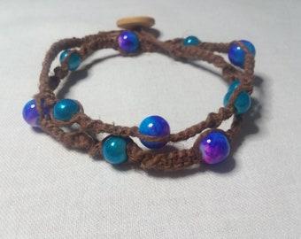 Hemp and Bead Wrap Around Bracelet/Necklace