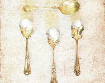 "Kitchen Print, Vintage Spoon Art, Kitchen Decor, Silverware Art For The Kitchen, Shabby Cottage Chic, Victorian Spoon Print- ""Golden Spoons"""