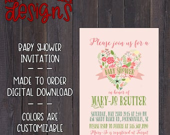 Floral Heart Baby Shower Invitation