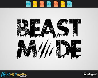 Beast Mode SVG | Dxf | Png | Eps | Ai | Pdf | Cricut cutting file | vector file | printable | silhouette | digital download